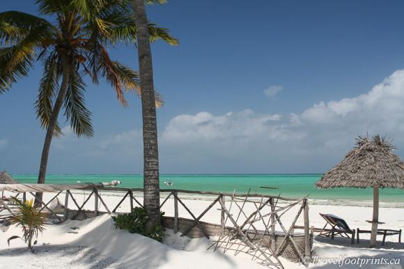 palm trees and thatch shade umbrellas paje beach resort