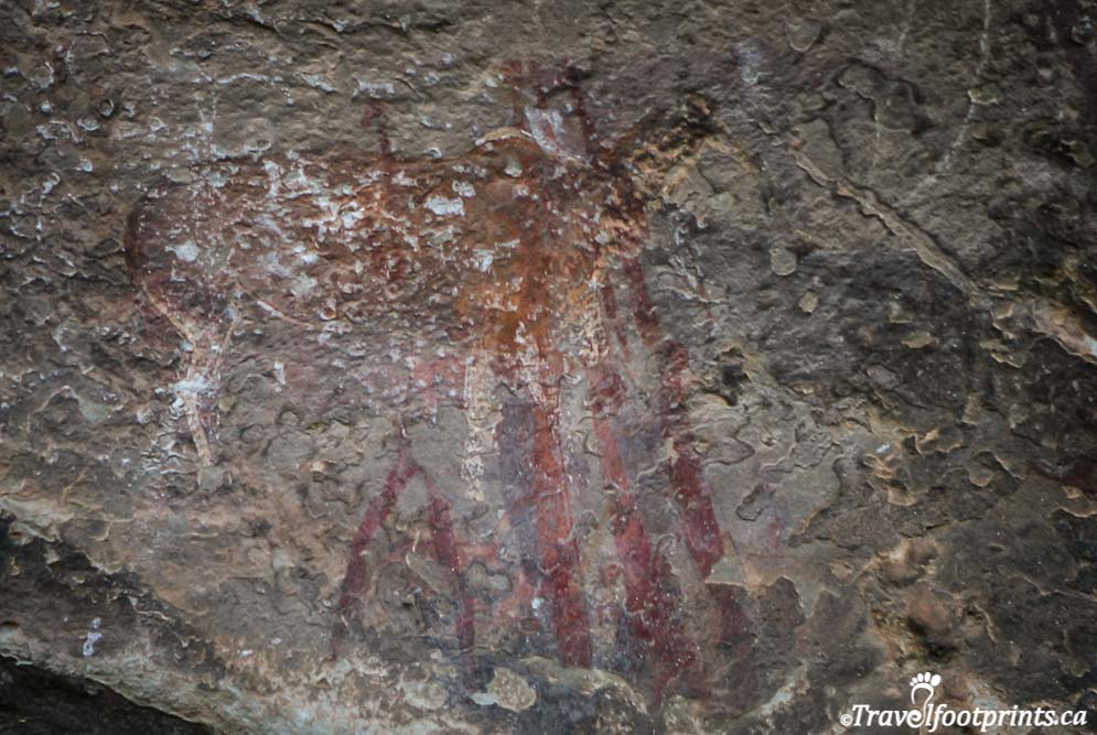 ancient san paintings on rock cliffs in lesotho africa