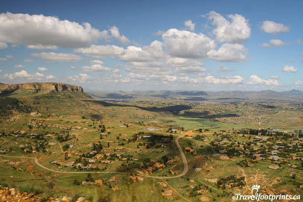 vast view of farmland in Lesotho Africa