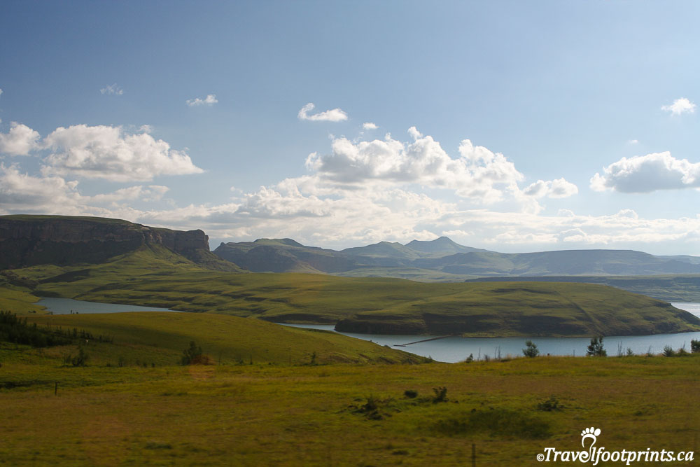 Beautiful view of lake and mountains in Lesotho Africa
