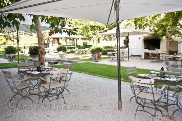 Franschhoek-Winery-outdoor-Dining-tasting-South-Africa-umbrella-chairs-table