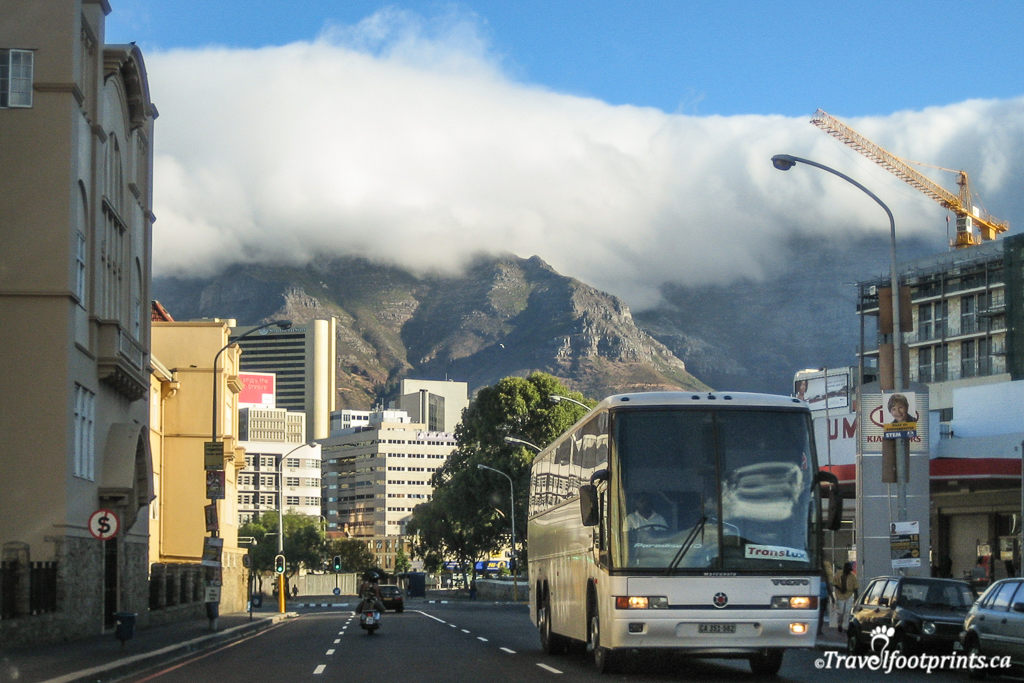 skyscrapers of cape town and table mountain