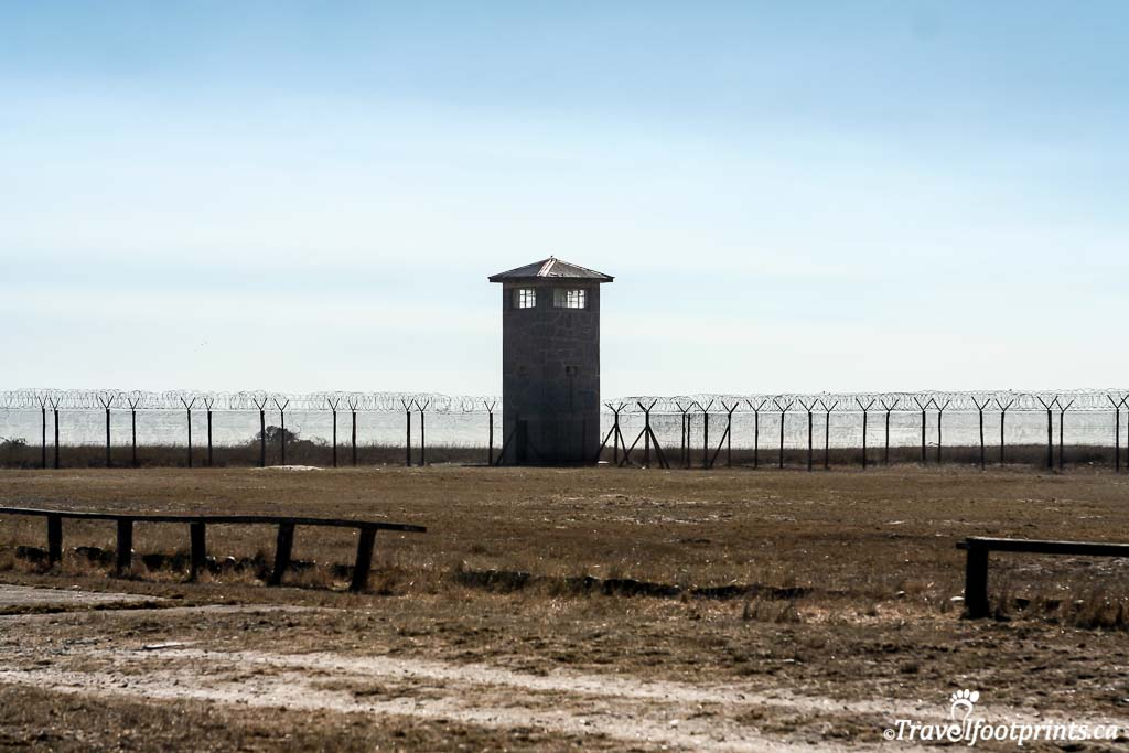 watch tower and security fence at robben island