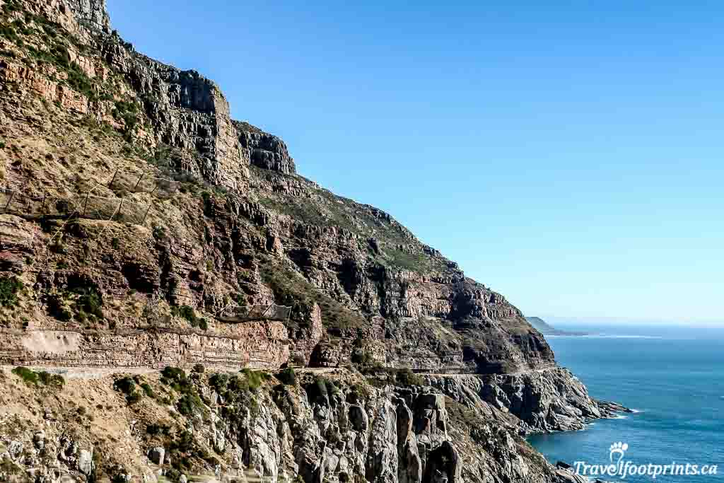 winding cliffside road on chapmans peak drive