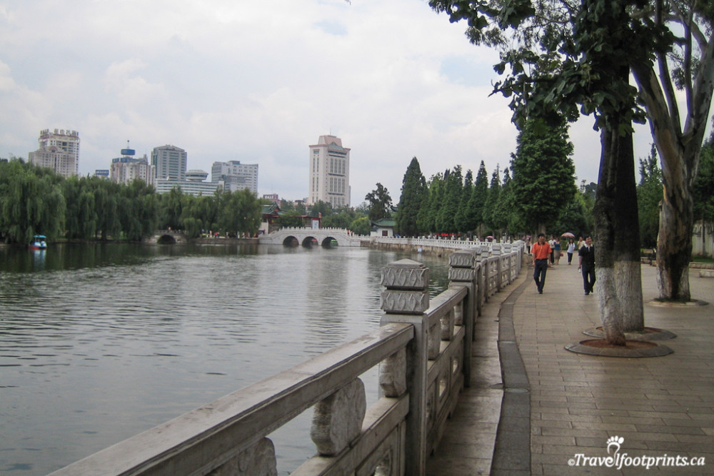 walkway along the river in kunming china