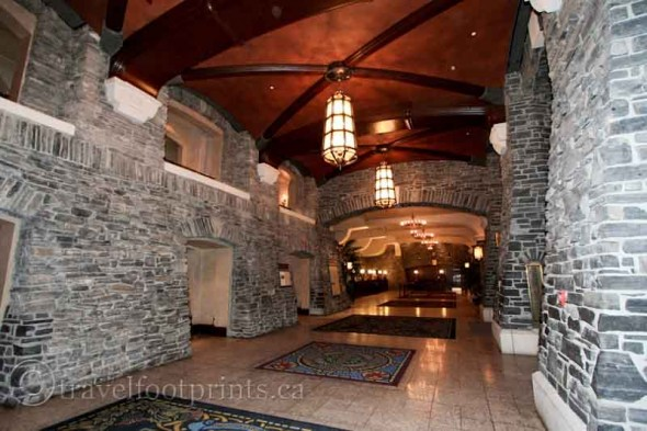 Banff-springs-hotel-interior-lobby-brickwork-lanterns