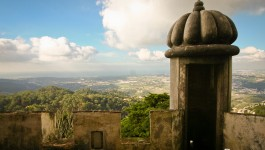 Pena Palace balcony overlooking town of Sintra Portugal