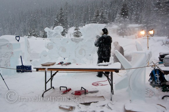 lake-louise-ice-magic-festival-ice-carvers-station-work-tools-sculpture
