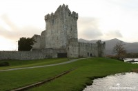ross castle and green grass at shore of lough leane killarney ireland