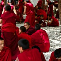 monks debating at sera monastery lhasa tibet