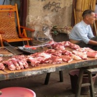 raw meat for sale on street in china