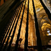 guilded architecture of interior in seville cathedral spain