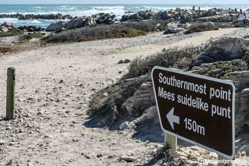 southernmost point of south africa sign at cape agalhus