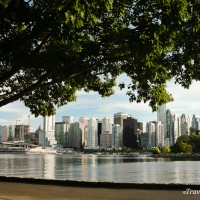 view of downtown skyscrapers from stanley park seawall vancouver canada