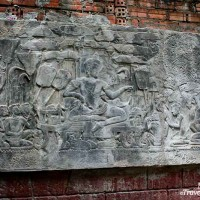 bas relief carving of deity siem reap cambodia
