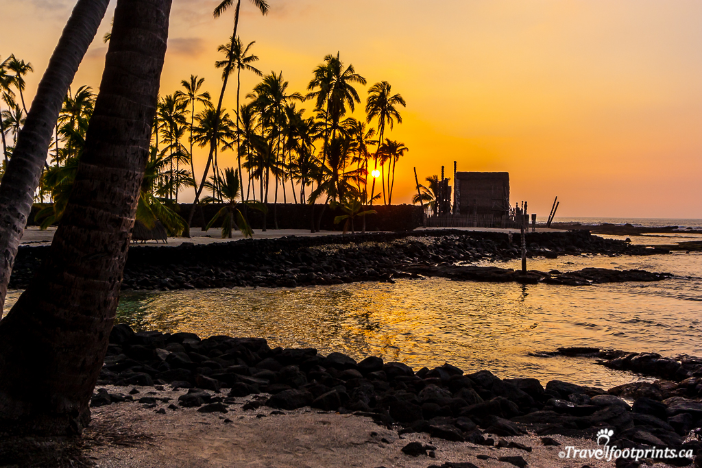 sunset at place of refuge big island hawaii